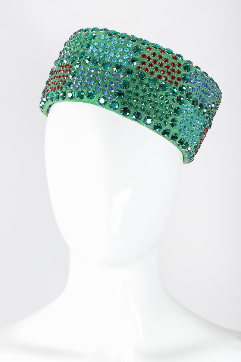 Recess Los Angeles Vintage Leslie James Rhinestone Pillbox Hat Millinery Jackie O