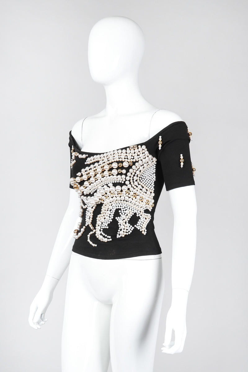 Recess Los Angeles Vintage Complice Off-The-Shoulder Pearl Explosion Stretch Tee Top