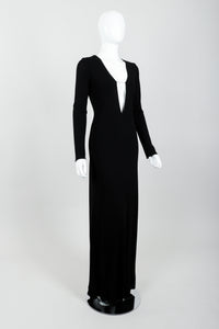 Vintage Lida Baday Crepe Chained Plunge Gown on Mannequin Angled at Recess Los Angeles