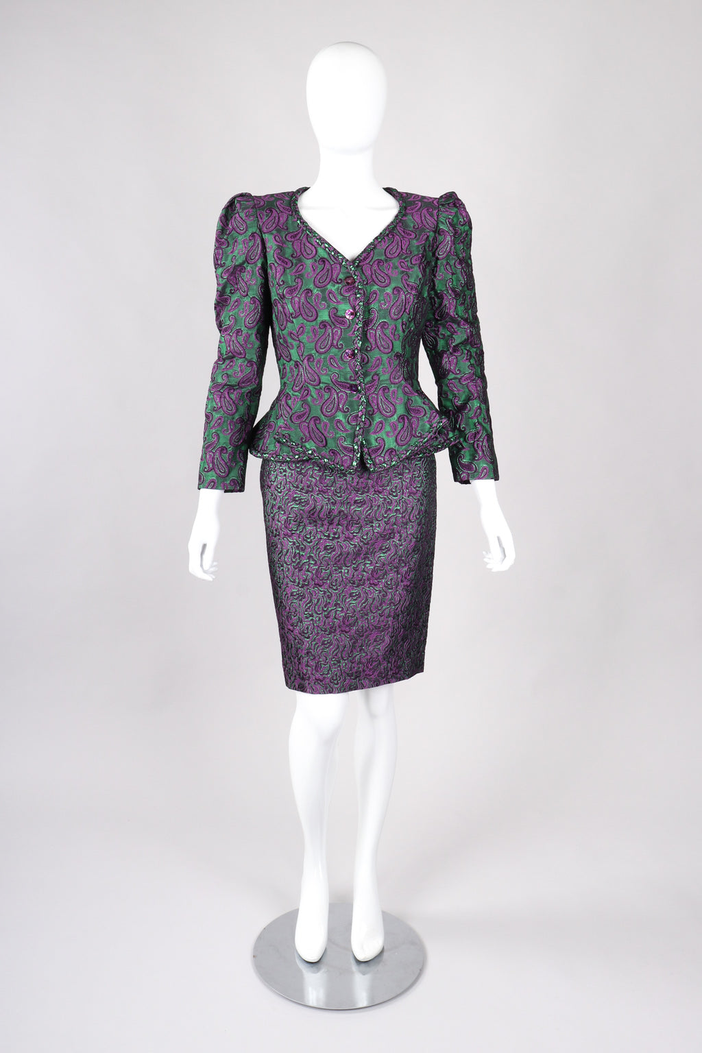 Recess Los Angeles Vintage Lilian Fell Metallic Lamé Paisley Peplum Jacket & Skirt Set