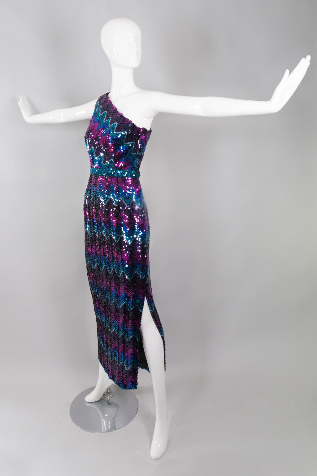 Lilli Diamond Vintage Chevron Sequin One-Shoulder Dress