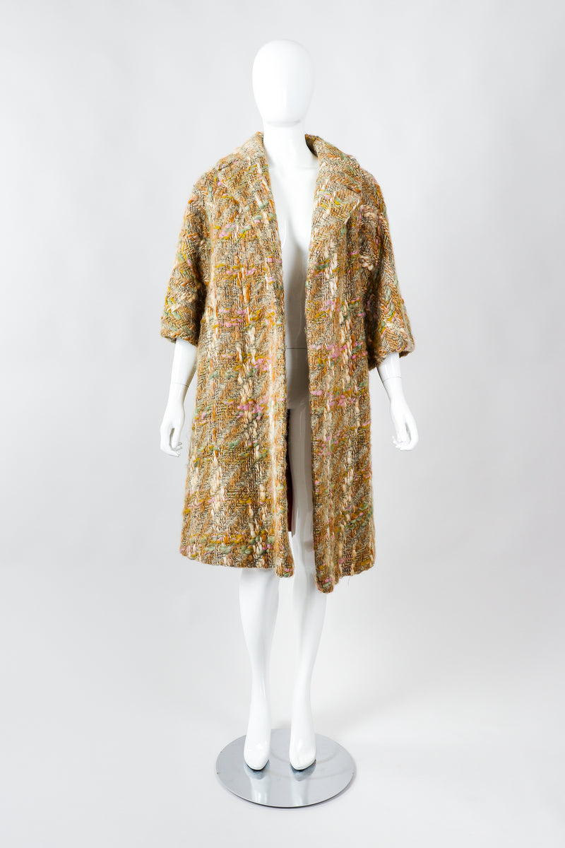 Vintage Lilli Ann Pastel Tan Mohair Bouclé Swing Coat on Mannequin Front at Recess Los Angeles
