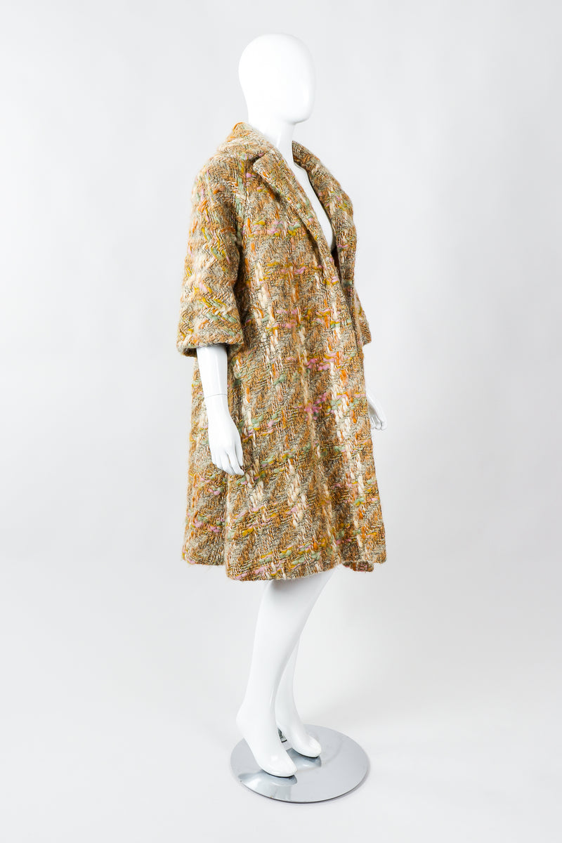 Vintage Lilli Ann Pastel Tan Mohair Bouclé Swing Coat on Mannequin Side at Recess Los Angeles