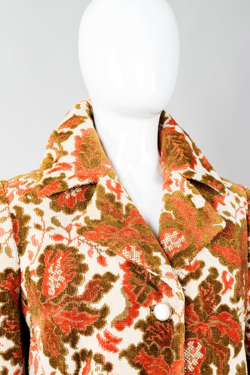 Vintage Lilli Ann Floral Chenille Carpet Coat on Mannequin collar, at Recess Los Angeles