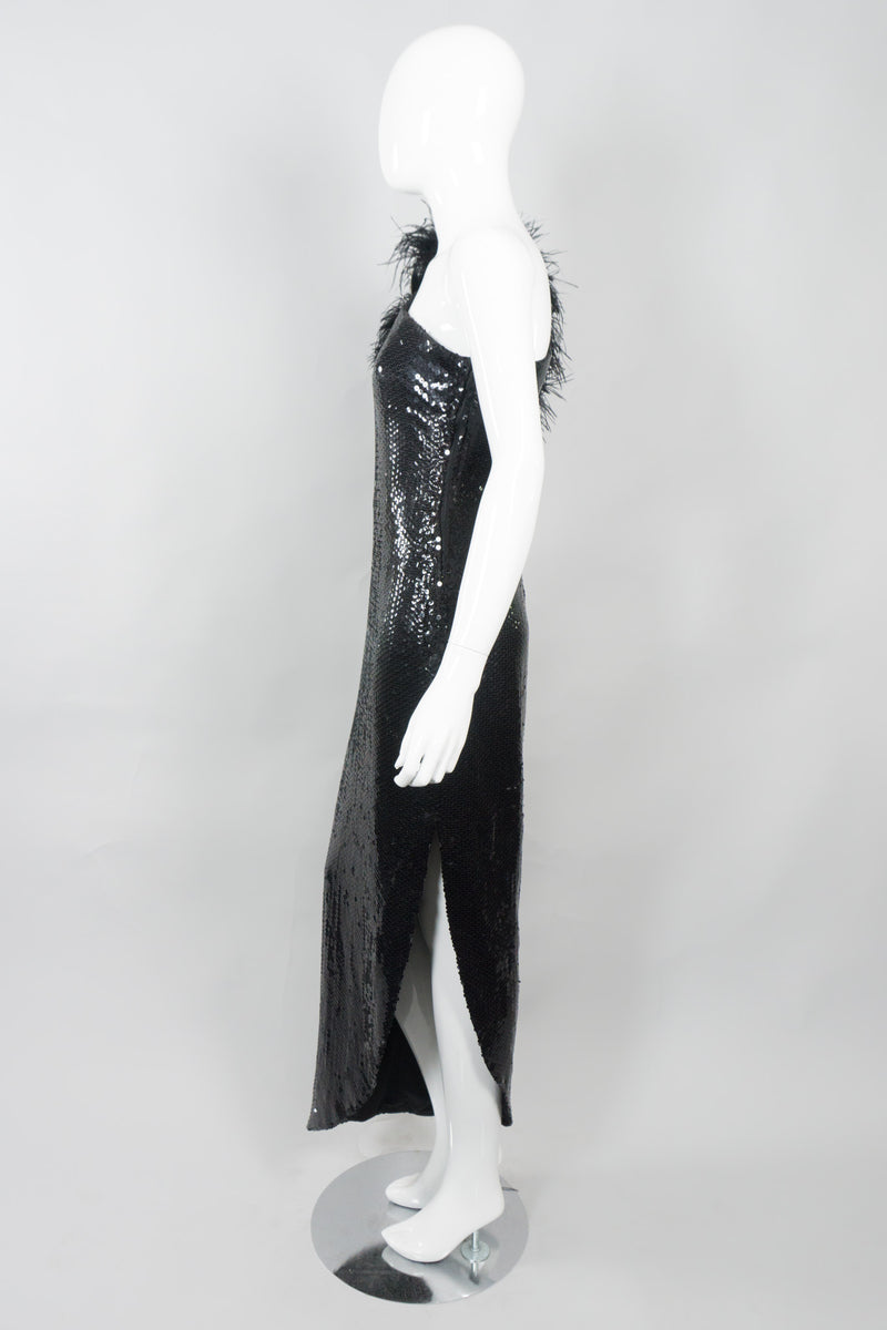 Lillie Rubin Vintage Ostrich Feather One-Shoulder Sequin Gown