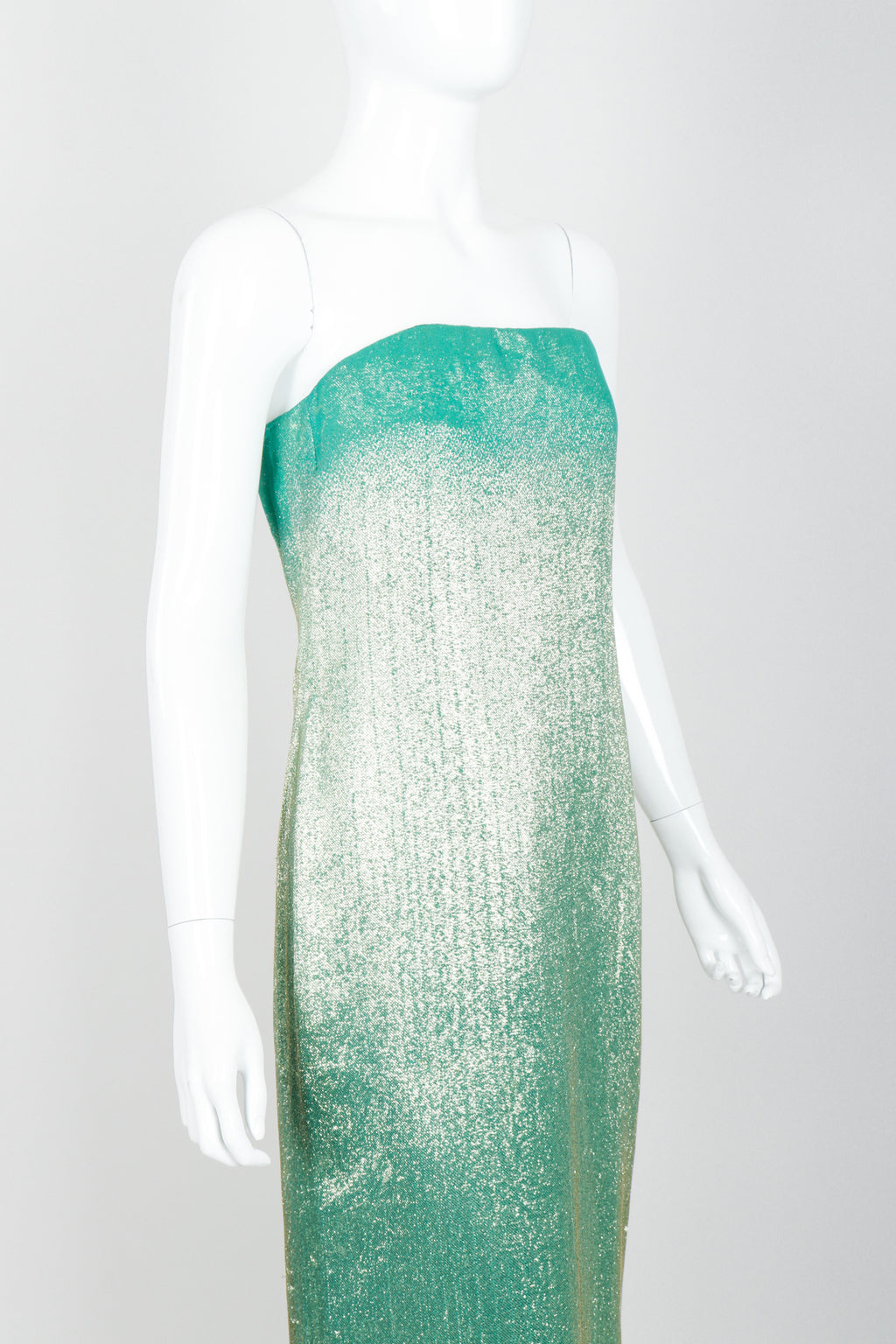 Vintage Ruben Panis Mermaid Ombré Lamé Strapless Gown on mannequin angle crop at Recess