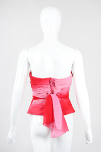 Recess Los Angeles Vintage Lillie Rubin Ombré Pleated Convertible Chiffon Bustier Top