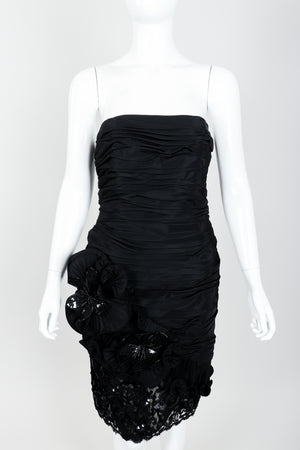 Vintage Lillie Rubin Flower Ruched Cocktail Dress Front at Recess LA