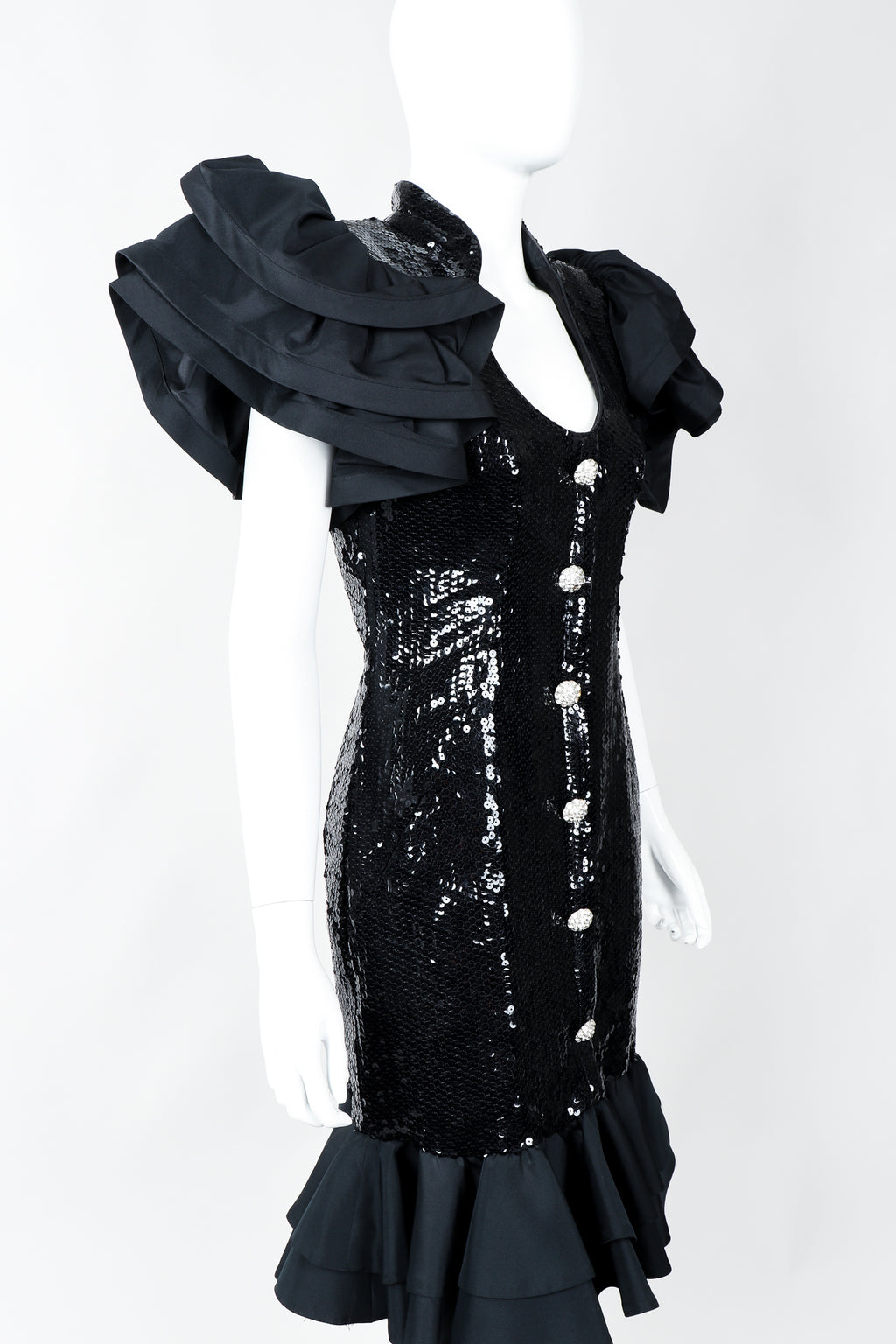 Vintage Lillie Rubin Sequin Ruffle Shoulder Cocktail Dress on Mannequin, Cropped at Recess