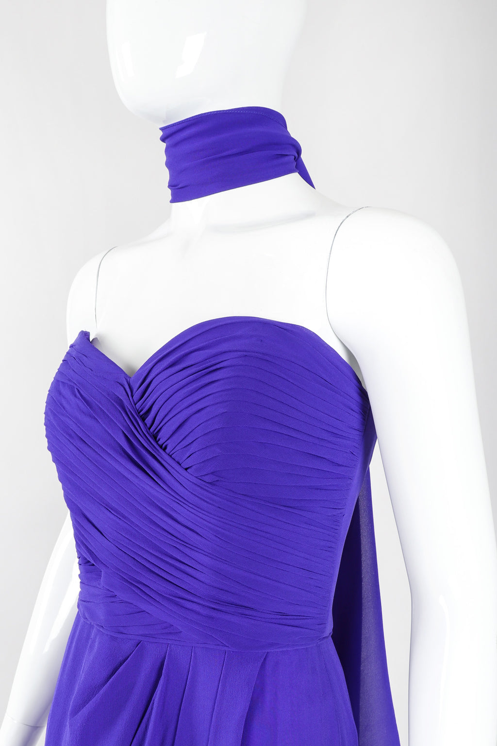 Recess Los Angeles Vintage Lillie Rubin Electric Purple Silk Chiffon Strapless Sheath