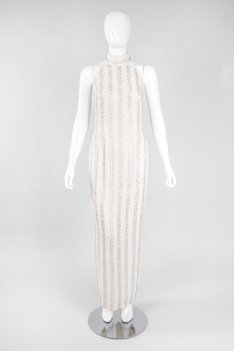 Recess Los Angeles Vintage Lillie Rubin Old Hollywood Beaded Halter Column Sheath Gown