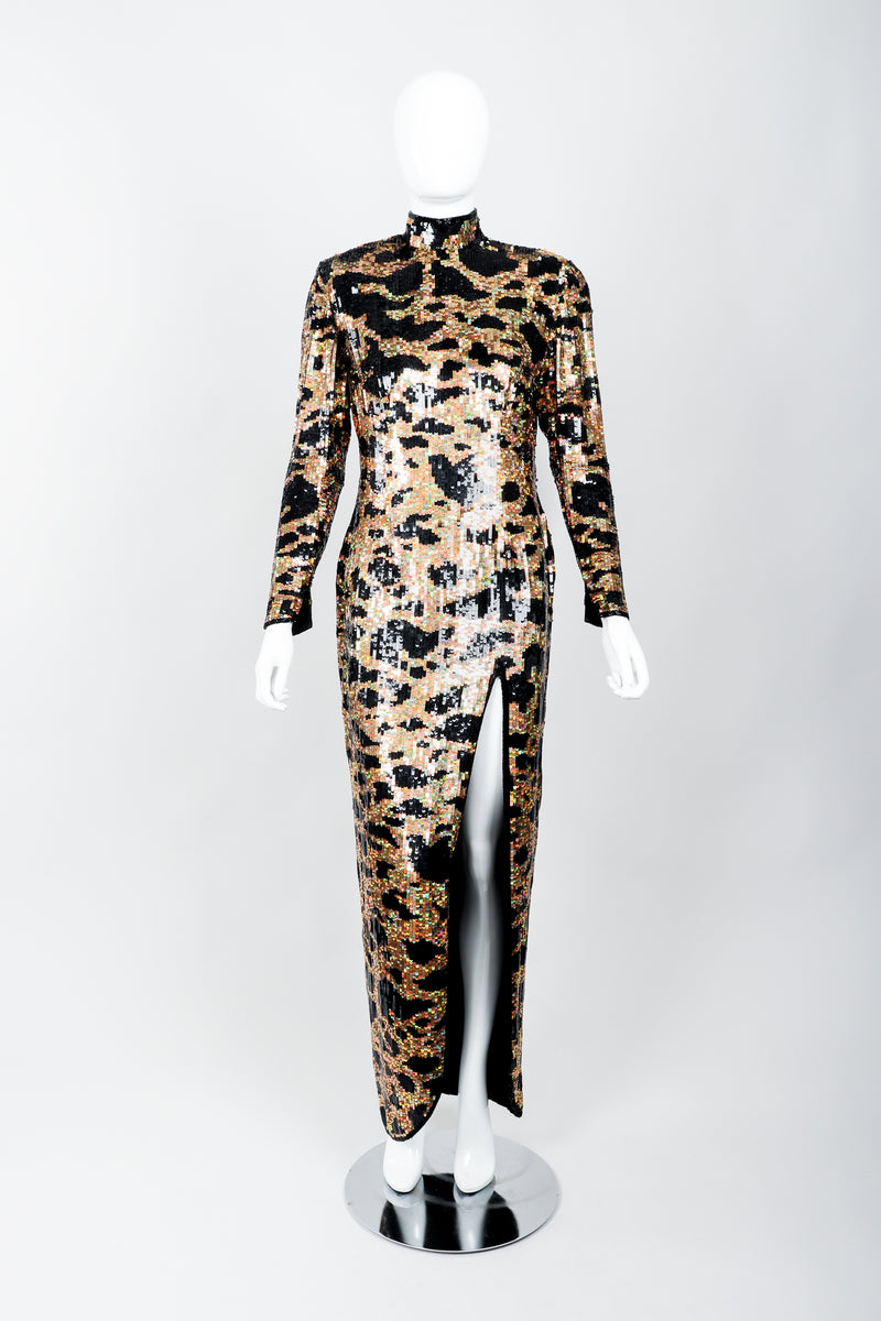 Vintage Riazee for Lillie Rubin Holographic Sequin Animal Sheath Dress on Mannequin front at Recess