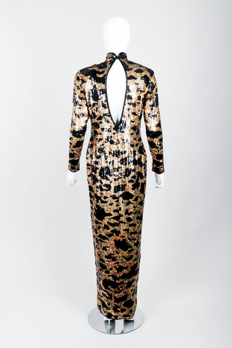 Vintage Riazee for Lillie Rubin Holographic Sequin Animal Sheath Dress on Mannequin back at Recess