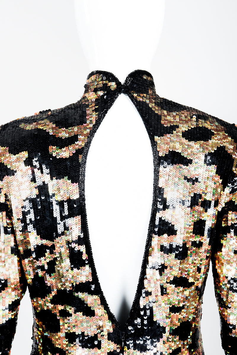 Vintage Riazee for Lillie Rubin Holographic Sequin Animal Sheath Dress on Mannequin back keyhole