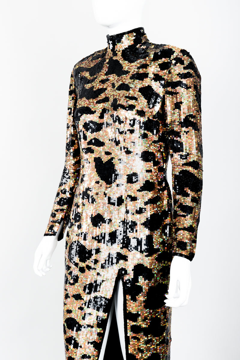 Vintage Riazee for Lillie Rubin Holographic Sequin Animal Sheath Dress on Mannequin front crop