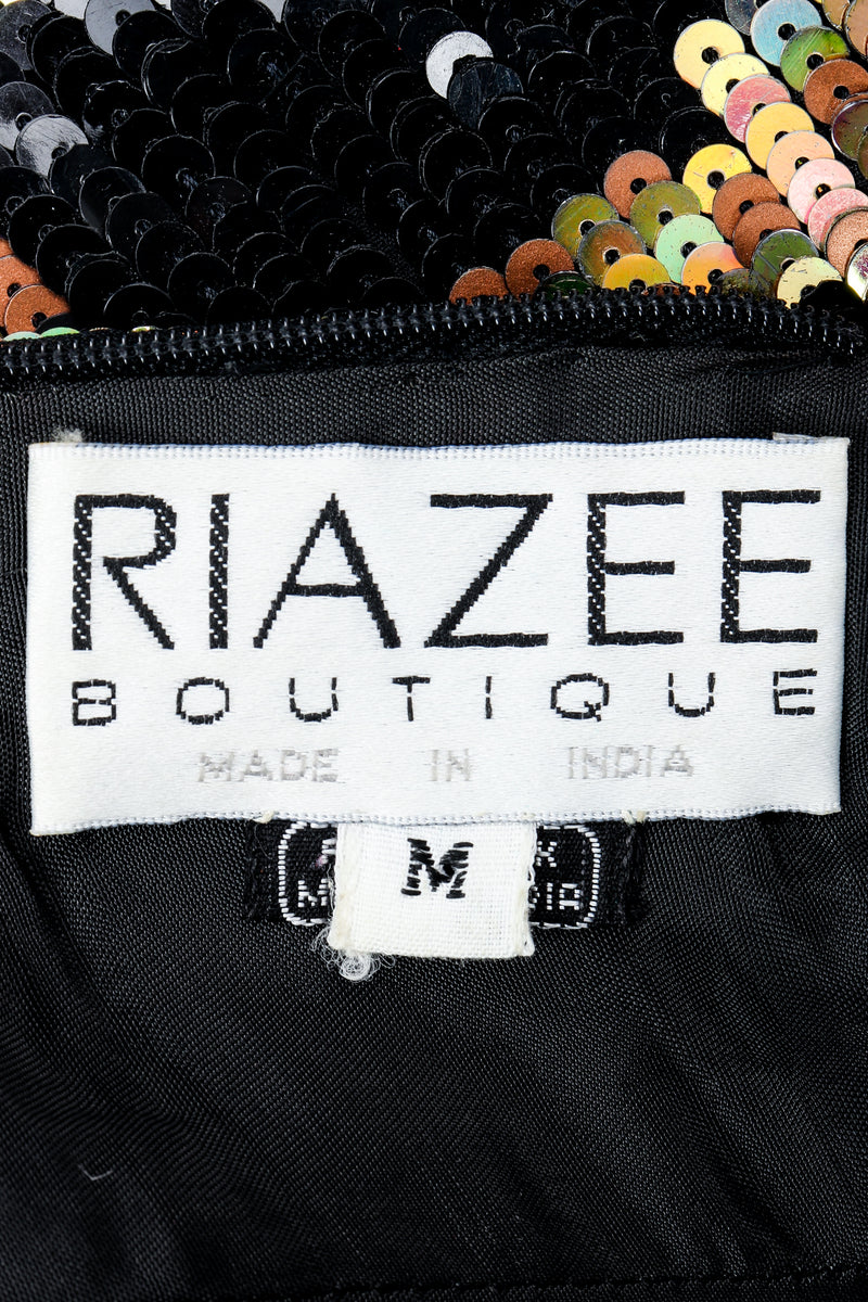 Vintage Riazee Boutique Lillie Rubin collaboration label on black