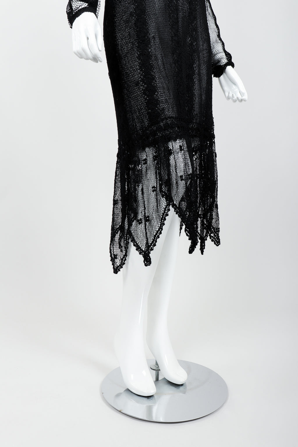 Vintage Lim's Sheer Crochet Lace Dress on Mannequin hem at Recess Los Angeles
