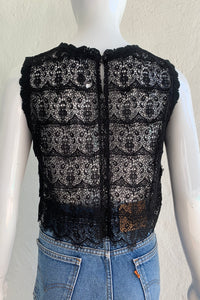 Vintage Lim's Sheer Crochet Lace Shell Top on Mannequin Back at Recess Los Angeles
