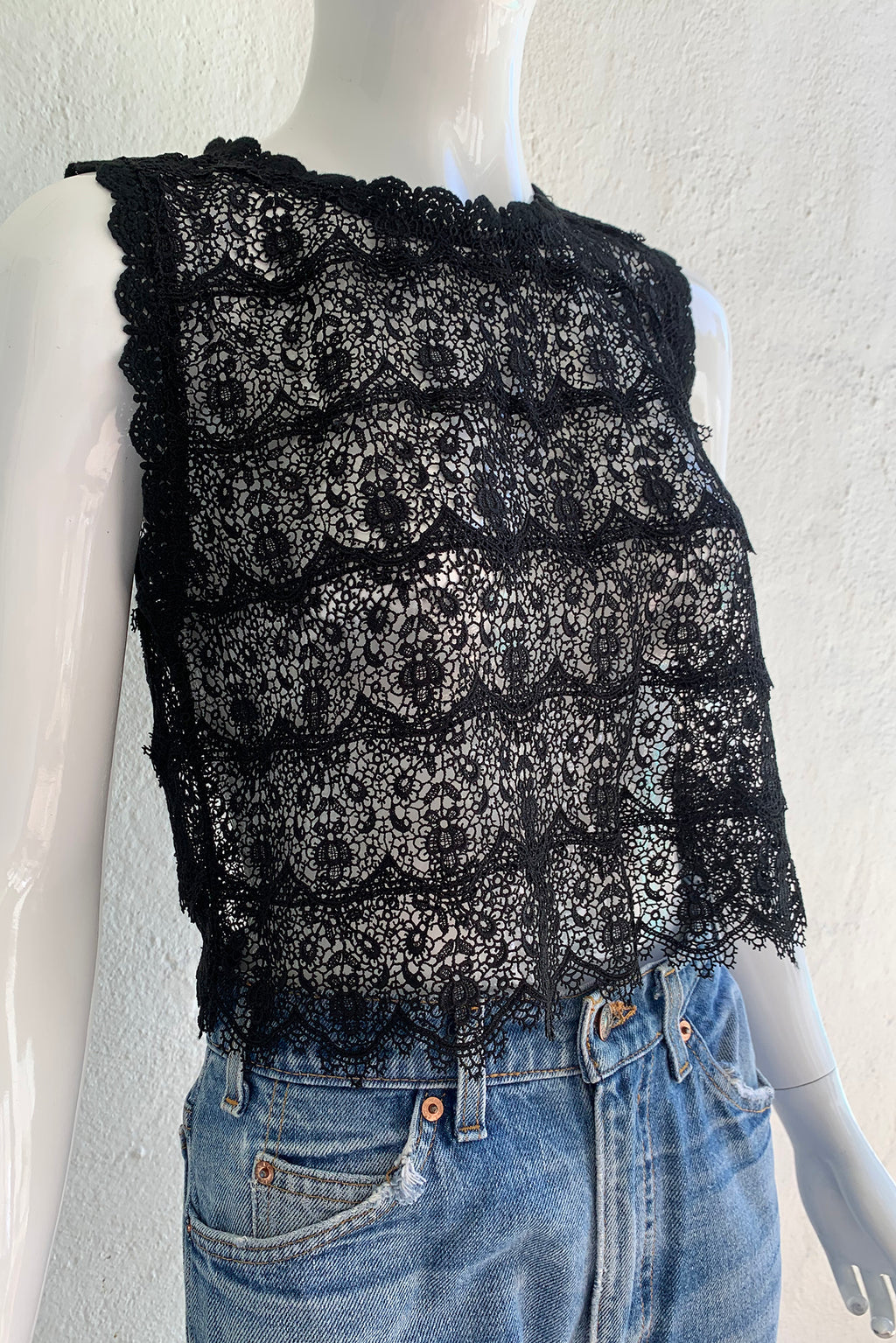 Vintage Lim's Sheer Crochet Lace Shell Top on Mannequin angle crop at Recess Los Angeles