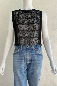 Vintage Lim's Sheer Crochet Lace Shell Top on Mannequin front at Recess Los Angeles