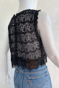 Vintage Lim's Sheer Crochet Lace Shell Top on Mannequin Back Angle at Recess Los Angeles