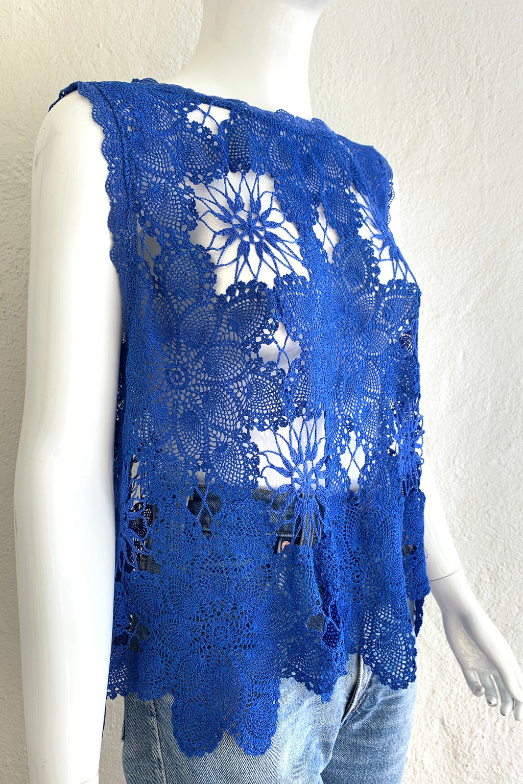 Vintage Lim's Crochet Lace Swing Top on Mannequin Angle at Recess Los Angeles