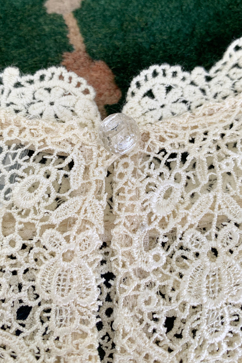 Vintage Lims Sheer Crochet Lace Shell back button at Recess Los Angeles