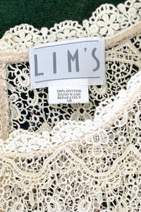 Vintage Lims Sheer Crochet Lace Shell label at Recess Los Angeles