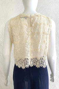 Vintage Lims Sheer Crochet Lace Shell on Mannequin back at Recess Los Angeles