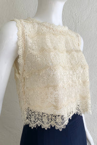 Vintage Lims Sheer Crochet Lace Shell on Mannequin angle at Recess Los Angeles