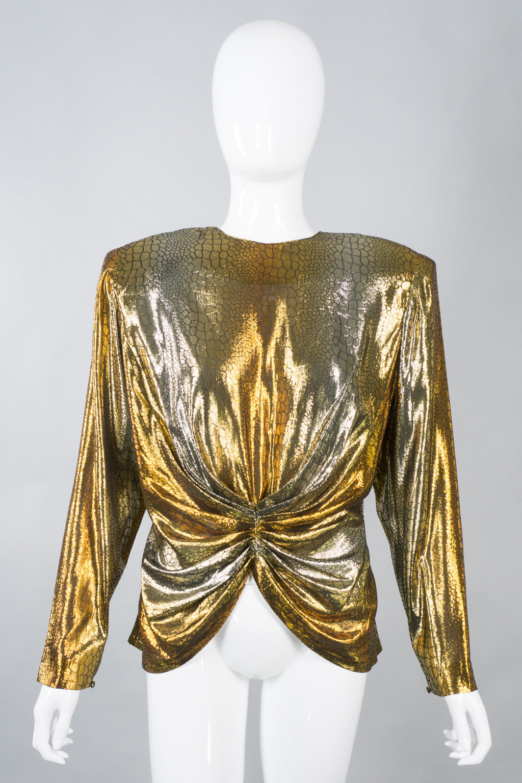 Lloyd Williams Gold Lamé Gathered Waist Top