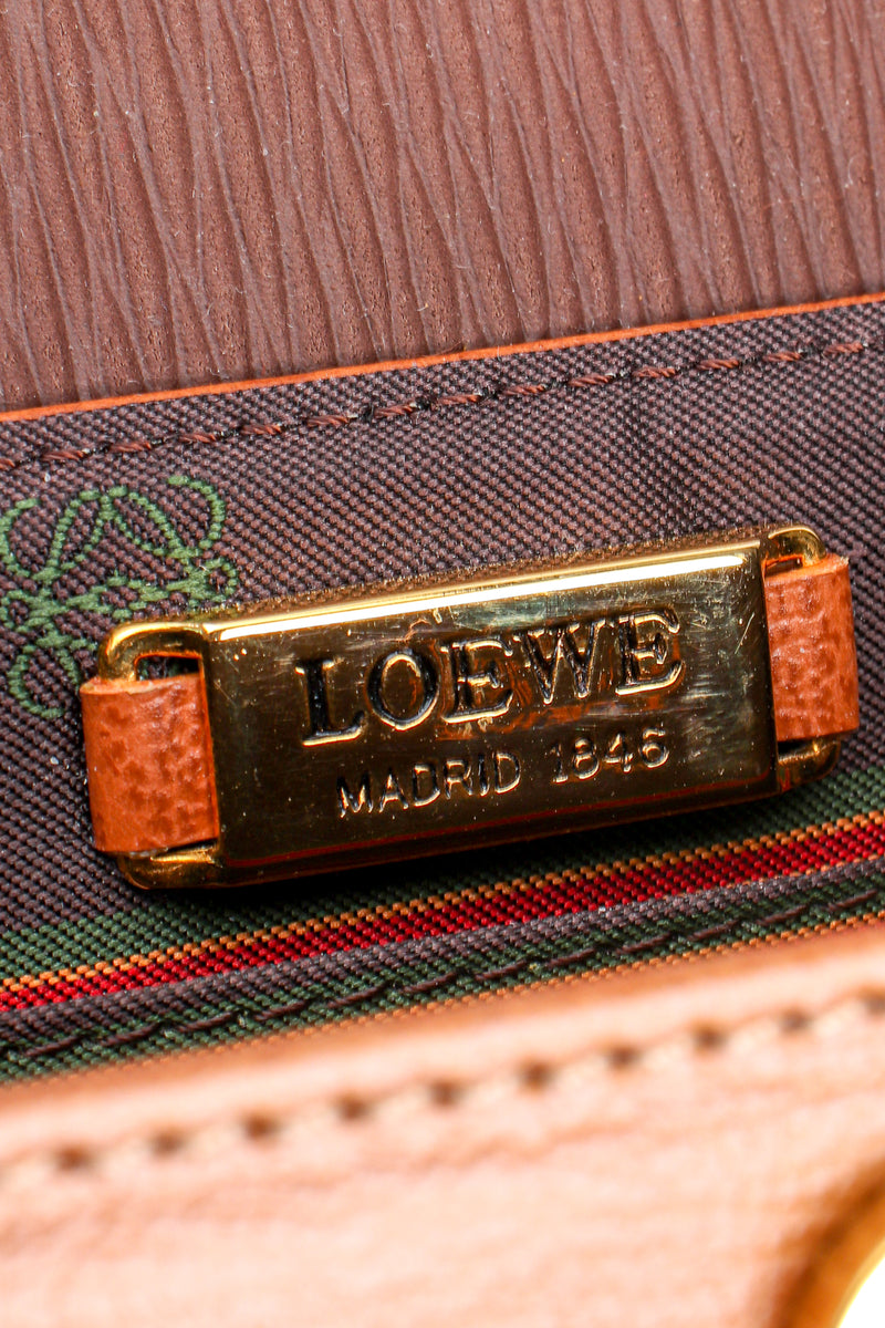 Vintage Loewe Spain Twist Handle Barrel Flap Satchel Bag metal signature plate at Recess LA