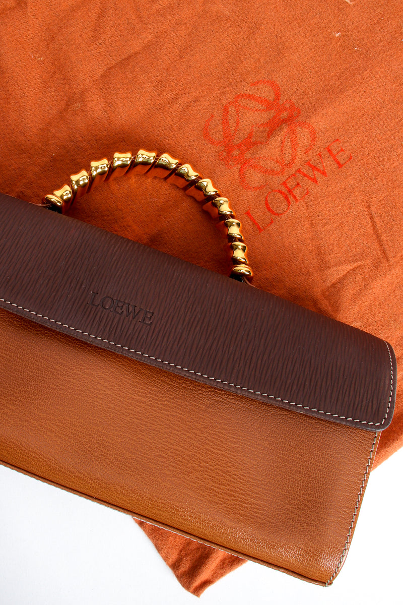 Vintage Loewe Spain Twist Handle Barrel Flap Satchel Bag dustbag at Recess Los Angeles