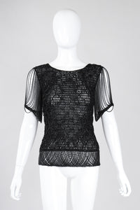 Recess Los Angeles Vintage Loris Azzaro Metallic Draped Chain Knit Top