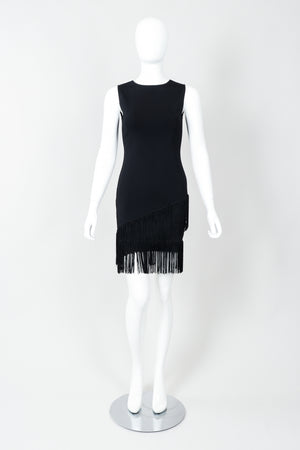 Vintage Loris Azzaro Asymmetrical Fringe Hem Dress on Mannequin, front at Recess Los Angeles