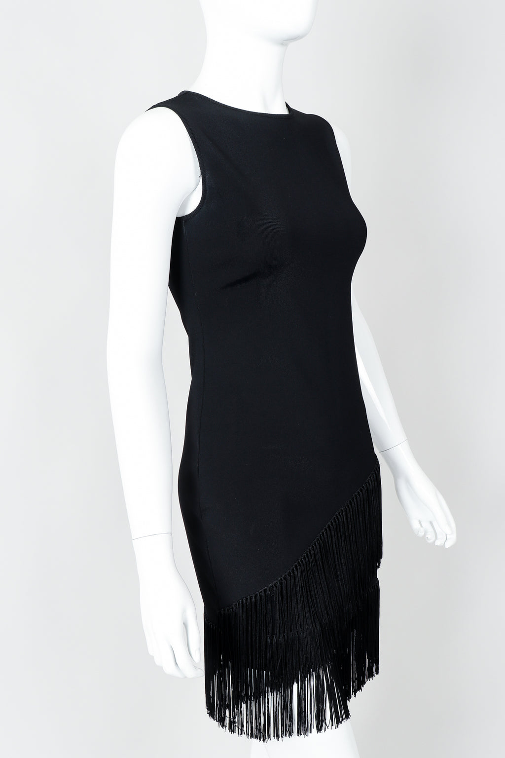 Vintage Loris Azzaro Asymmetrical Fringe Hem Dress on Mannequin cropped, at Recess