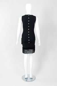 Vintage Loris Azzaro Asymmetrical Fringe Hem Dress on Mannequin, back at Recess Los Angeles
