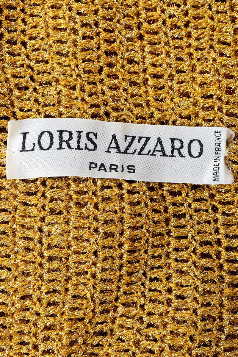 Vintage Loris Azzaro Label on gold knit fabric