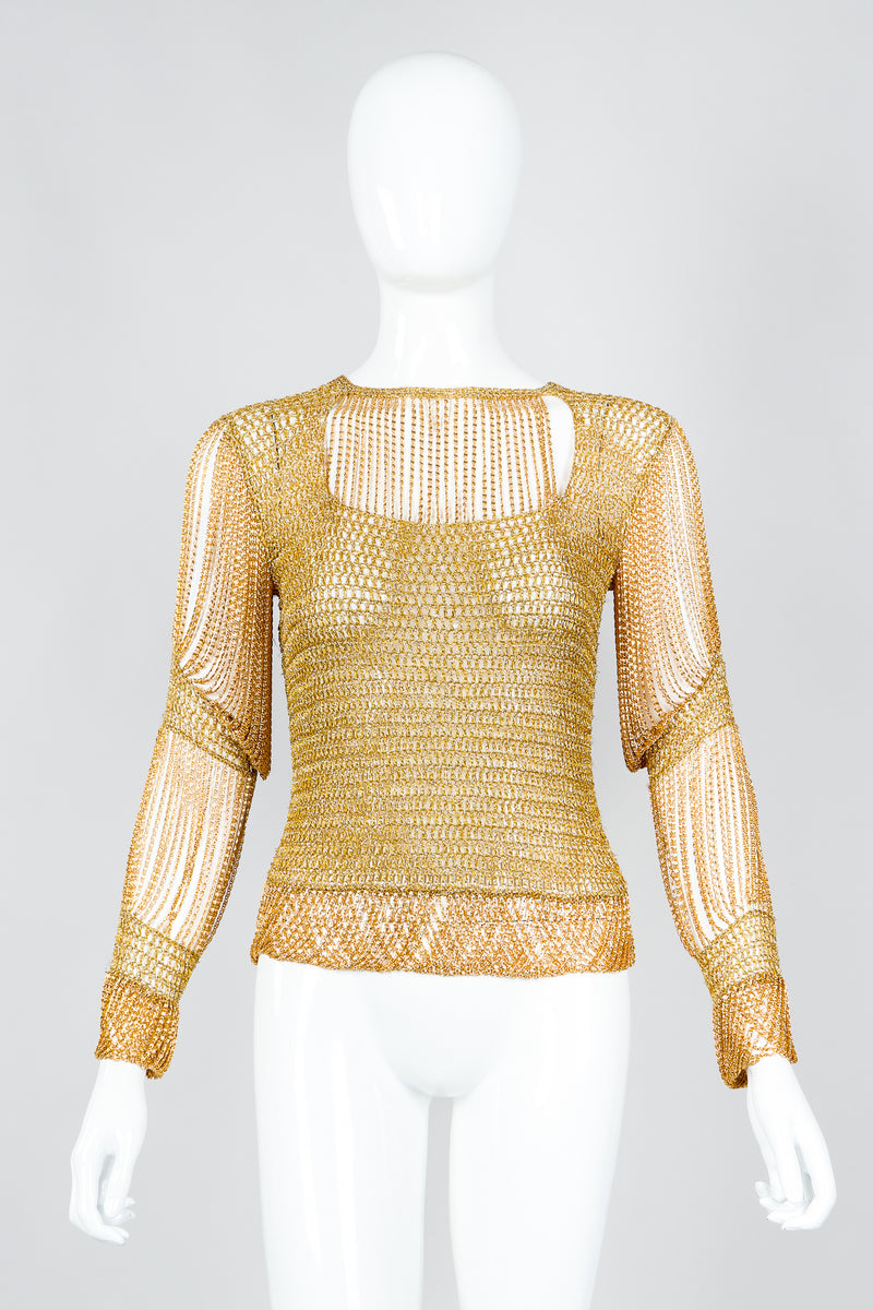 Vintage Loris Azzaro Rare Gold Draped Chain Juliet Sleeve Top on mannequin, front at Recess