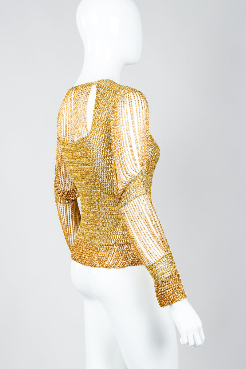 Vintage Loris Azzaro Rare Gold Draped Chain Juliet Sleeve Top on mannequin, side at Recess
