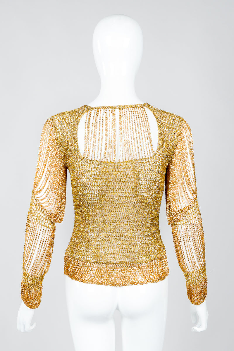 Vintage Loris Azzaro Rare Gold Draped Chain Juliet Sleeve Top on mannequin, back at Recess