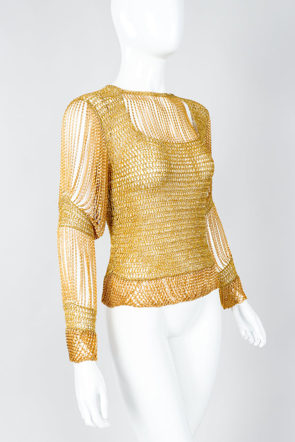 Vintage Loris Azzaro Rare Gold Draped Chain Juliet Sleeve Top on mannequin, cropped at Recess