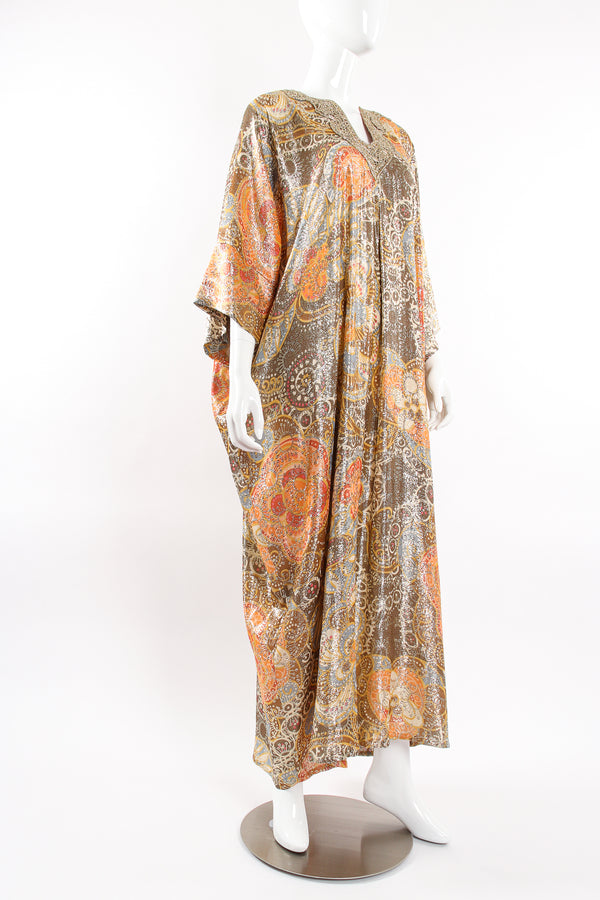 Vintage Lucie Ann Metallic Brocade Lamé Caftan on Mannequin angle at Recess Los Angeles