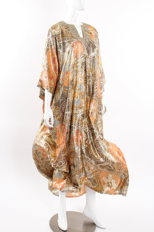 Vintage Lucie Ann Metallic Brocade Lamé Caftan on Mannequin flow at Recess Los Angeles