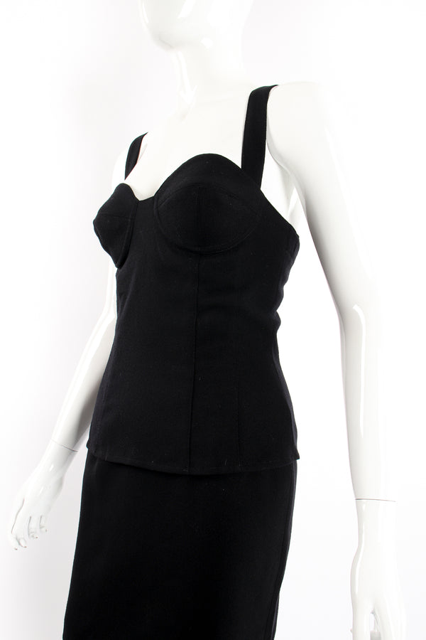 Vintage M.Yoko Wool Bustier & Skirt Set on Mannequin angle crop at Recess Los Angeles