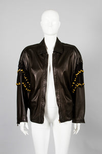 Gianni Versace Leather Macrame Jacket Unzipped