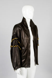 Gianni Versace Leather Macrame Jacket Side