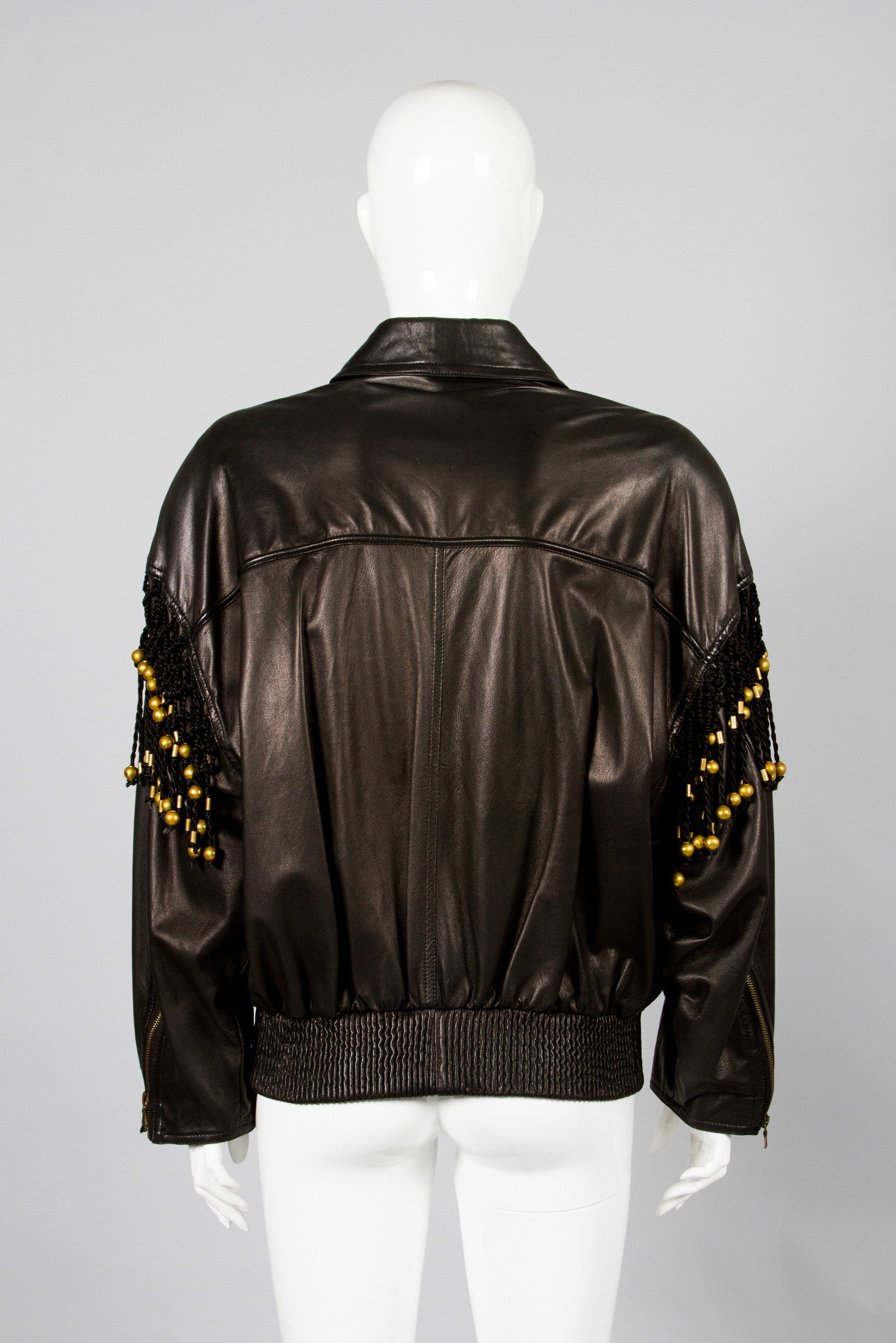 Gianni Versace Leather Macrame Jacket Back