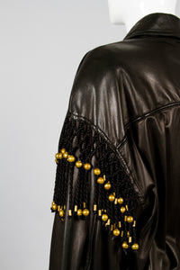 Gianni Versace Leather Macrame Jacket Detail