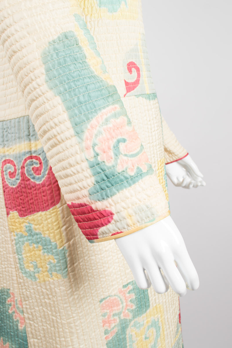 Mary McFadden Quilted Southwestern Folk Art Open Coat